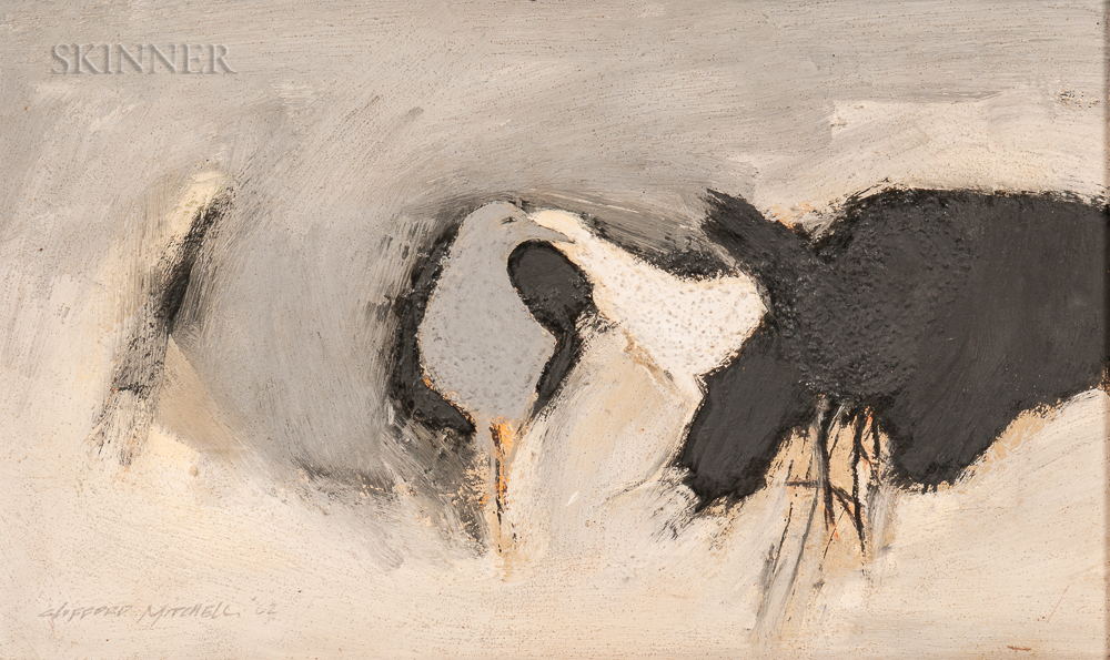 Clifford Mitchell (American, b. 1925)      Black, White, and Grey Birds