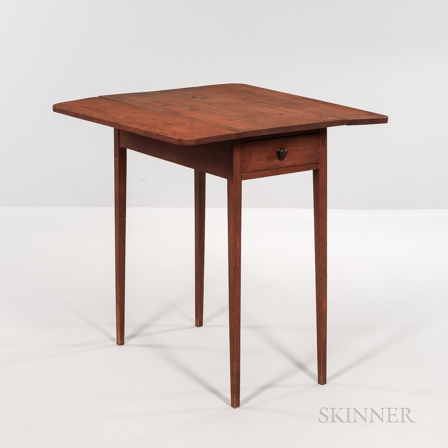 Small Shaker Red-stained Drop-leaf Table