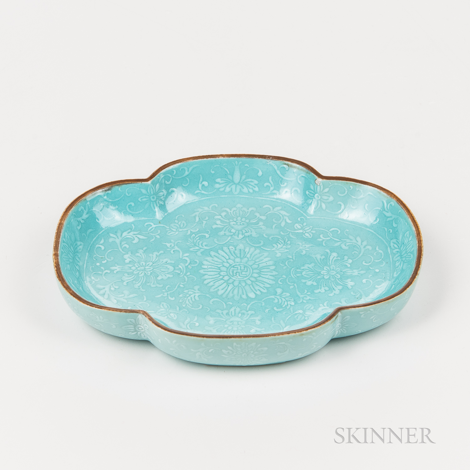 Turquoise Blue-glazed Dish with White Slip Decoration