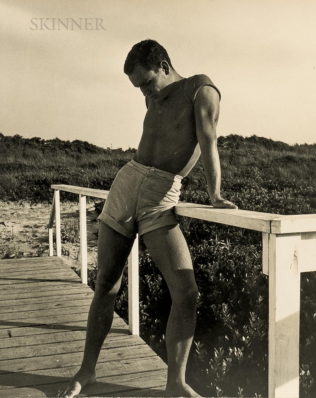 George Platt Lynes (American, 1907-1955)      Chuck Howard on Boardwalk, Probably Fire Island
