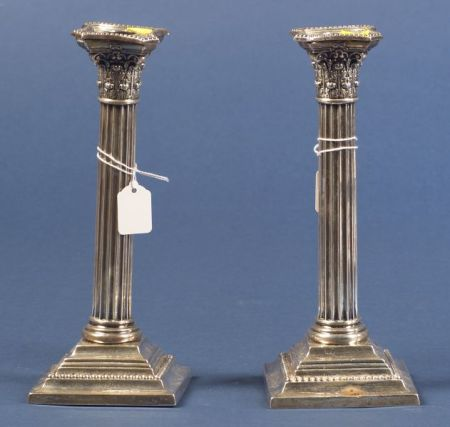 Pair of Gorham Weighted Sterling Classical Revival Candlesticks