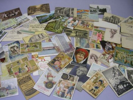 Small Lot of Trade Cards, Post Cards, Etc.