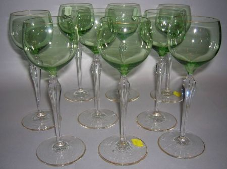 Nine Bohemian Green and Colorless Glass Gilt Decorated Wine Stems.