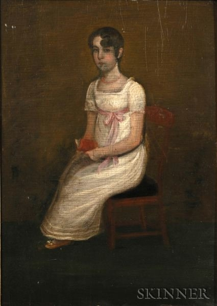 American School, 19th Century    Portrait of Miss Hardy of Wilmington, Delaware.