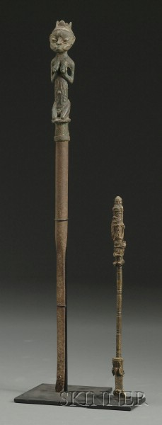 Two African Metal Scepters
