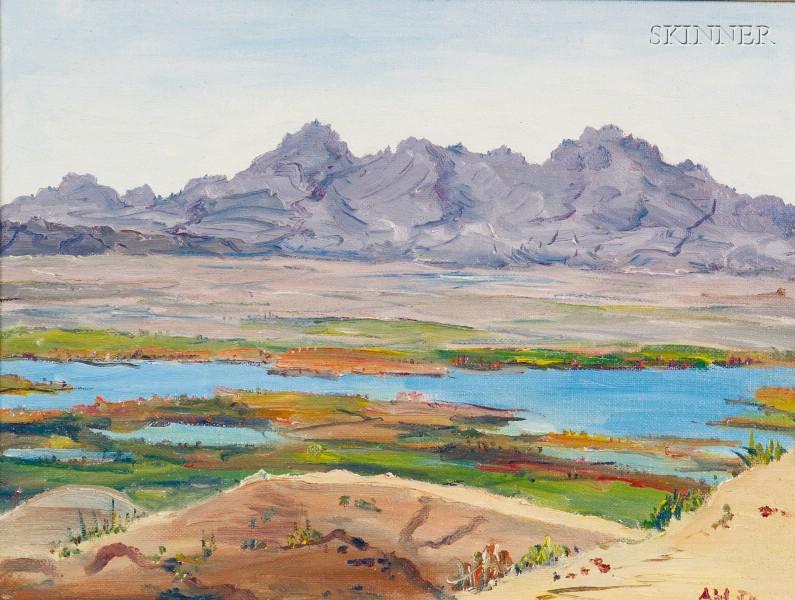Henry Curtis Ahl (American, 1905-1996)      From Near Havasu City, Arizona, Towards California