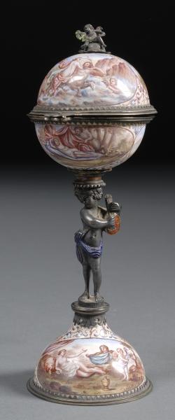 Viennese Silver Mounted Copper Enamel Figural Boudoir Timepiece