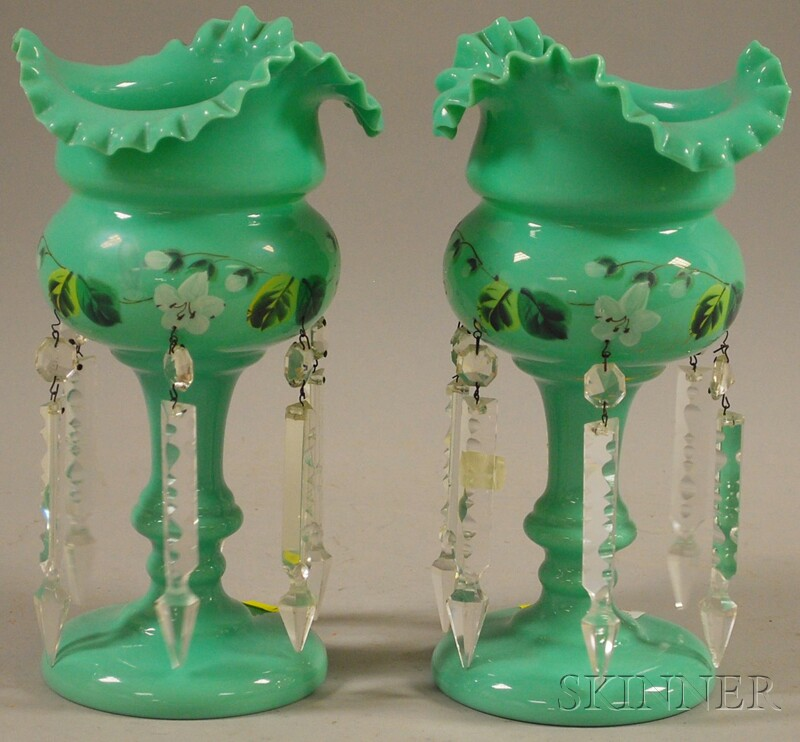 Pair of Victorian Hand-painted Floral-decorated Bristol Art Glass Garnitures with   Prisms