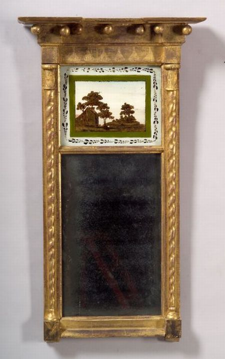 Federal Gilt Gesso and Eglomise Mirror
