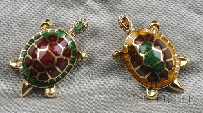 Two 18kt Gold, Enamel, and Gem-set Turtle Brooches