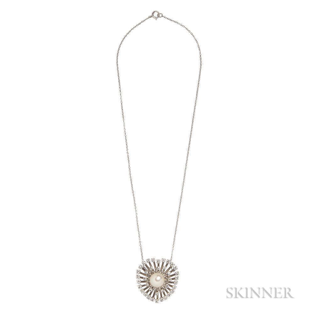 White Gold, Diamond, and Cultured Pearl Pendant