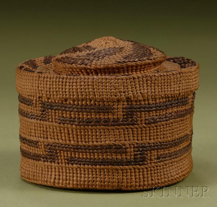 Northwest Coast Twined Rattle-top Basketry Bowl