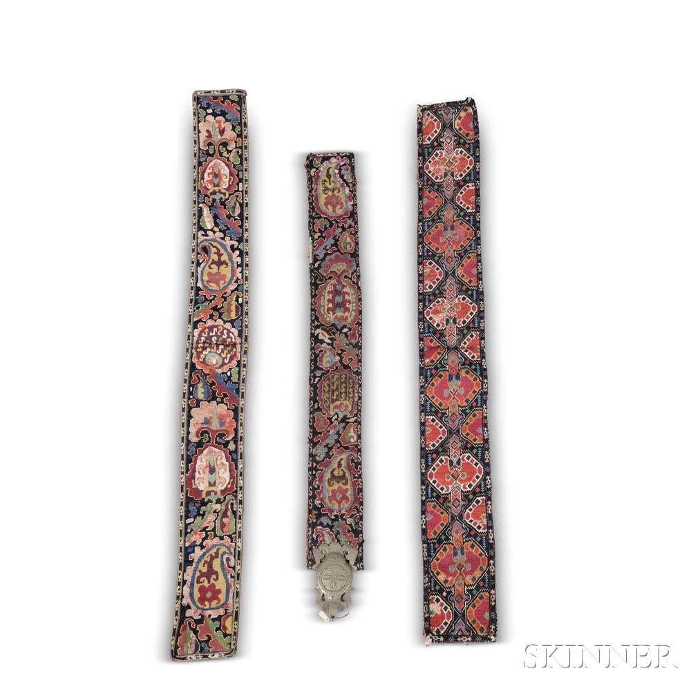 Three Needlepoint Belts