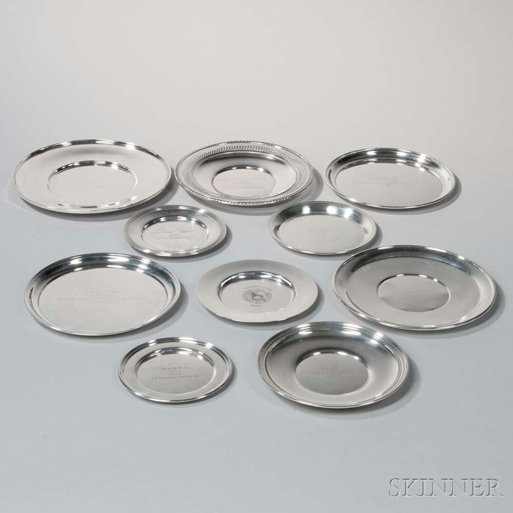 Ten Sterling Silver Presentation Plates