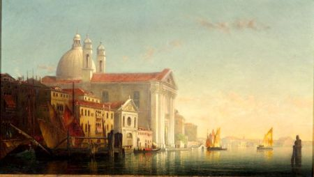 T. Defrees (American, fl. 1855-1887)    Morning in Venice, Church of the Jesuits, Giudecca Canal