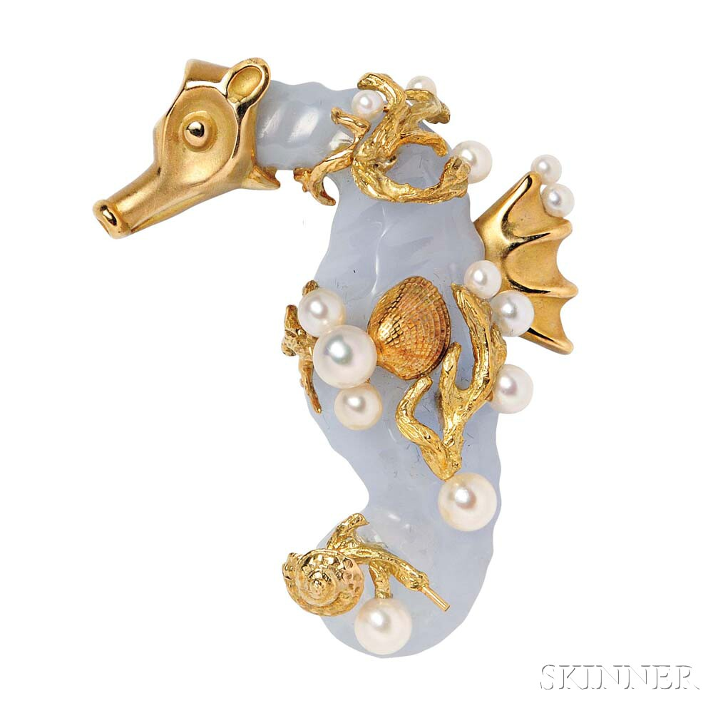 18kt Gold, Blue Chalcedony, and Cultured Pearl Brooch, Seaman Schepps