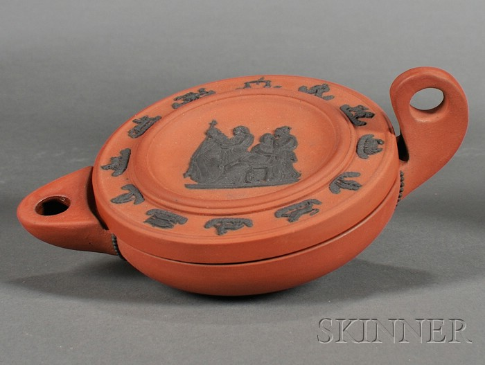 Wedgwood Rosso Antico Oil Lamp and Cover
