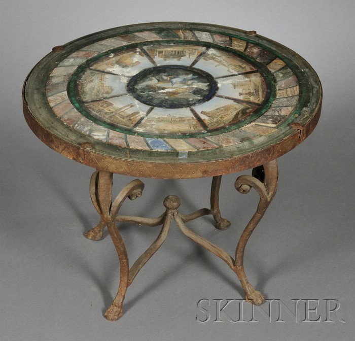 Italian Micromosaic Tabletop on Wrought Iron Base