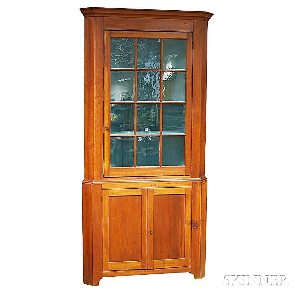 Federal Glazed Cherry Corner Cupboard