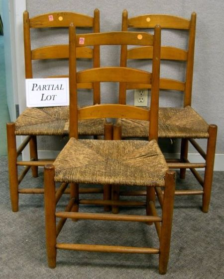 Set of Four Slat-back Side Chairs with Rush Seats