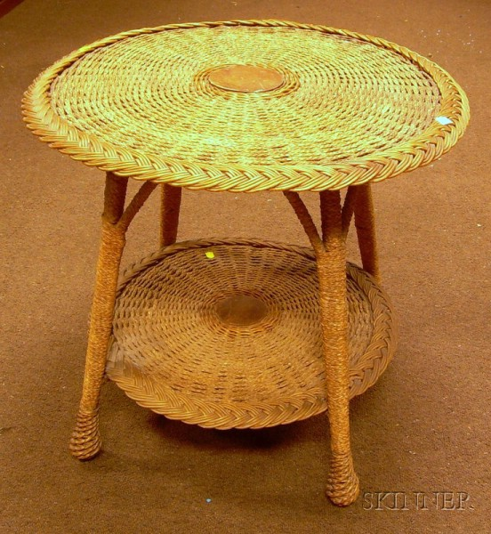 Late Victorian Woven Wicker and Rope Center Table.