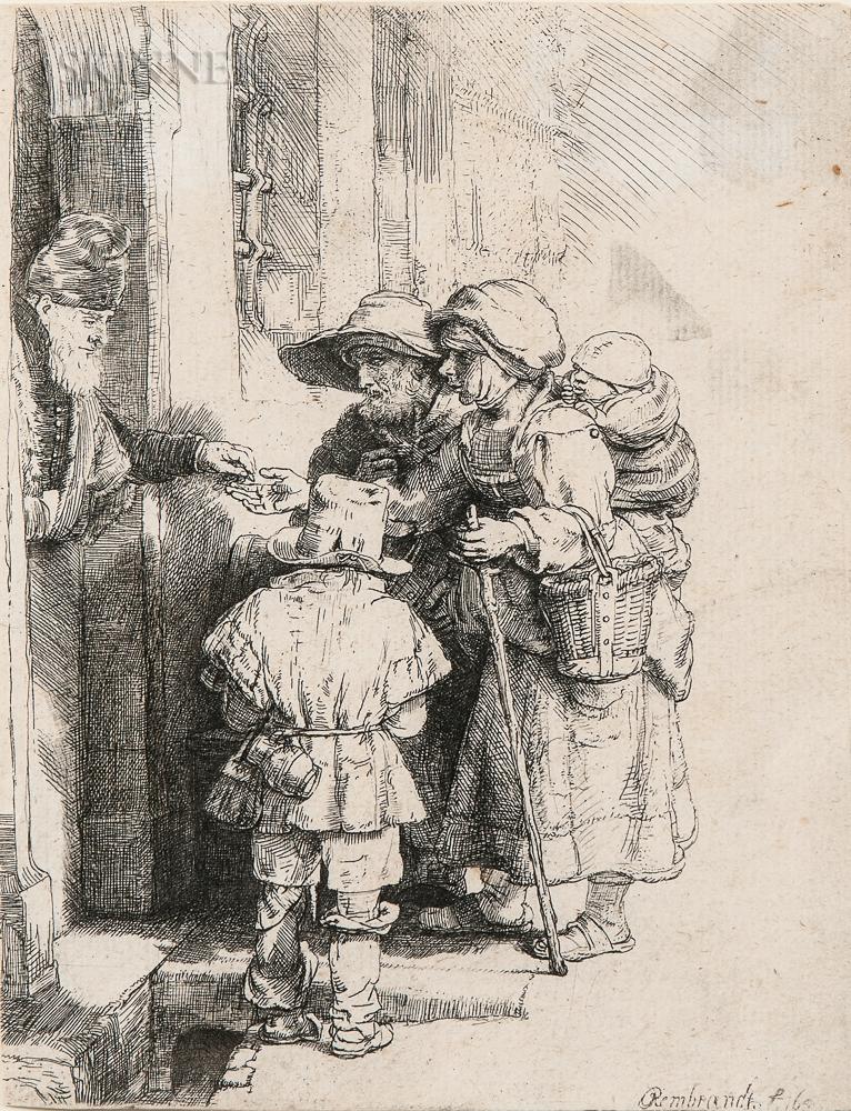 Rembrandt Harmensz van Rijn (Dutch, 1606-1669)      Beggars Receiving Alms at the Door of a House