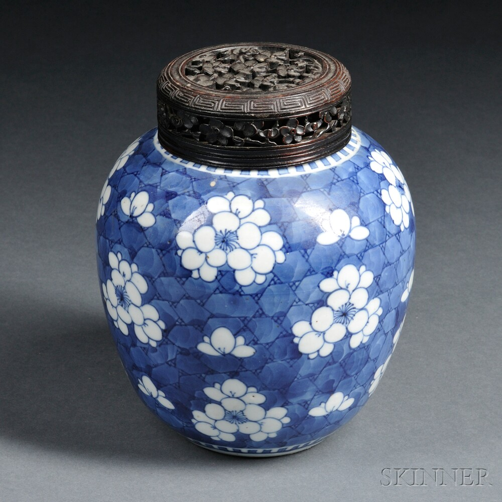 Blue and White Jar with Wood Cover