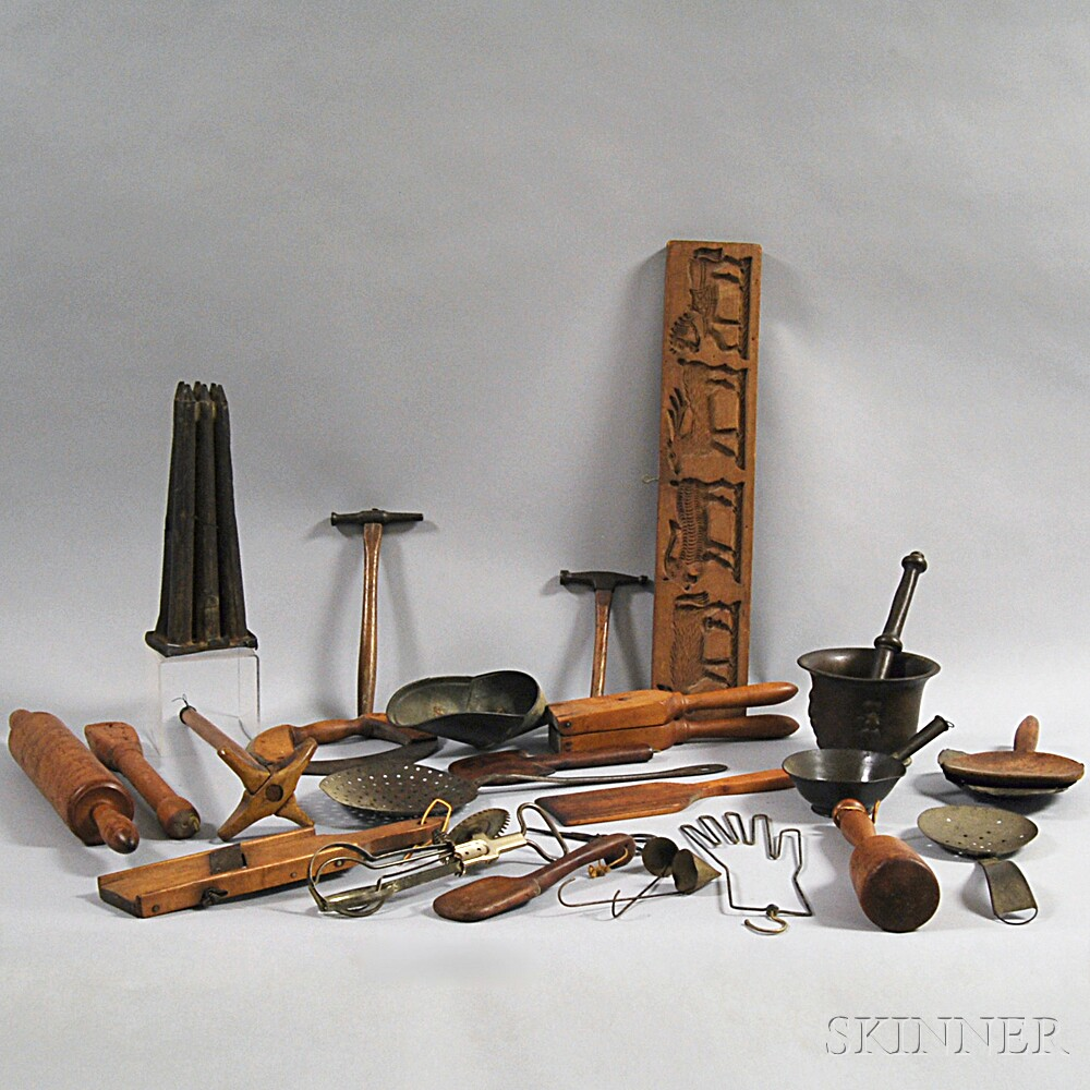 Group of Wood and Metal Domestic Items