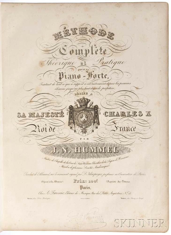 Hummel, Johann Nepomuk (1778-1837) Methode Complete Theoretique et Practique pour le Piano-Forte.