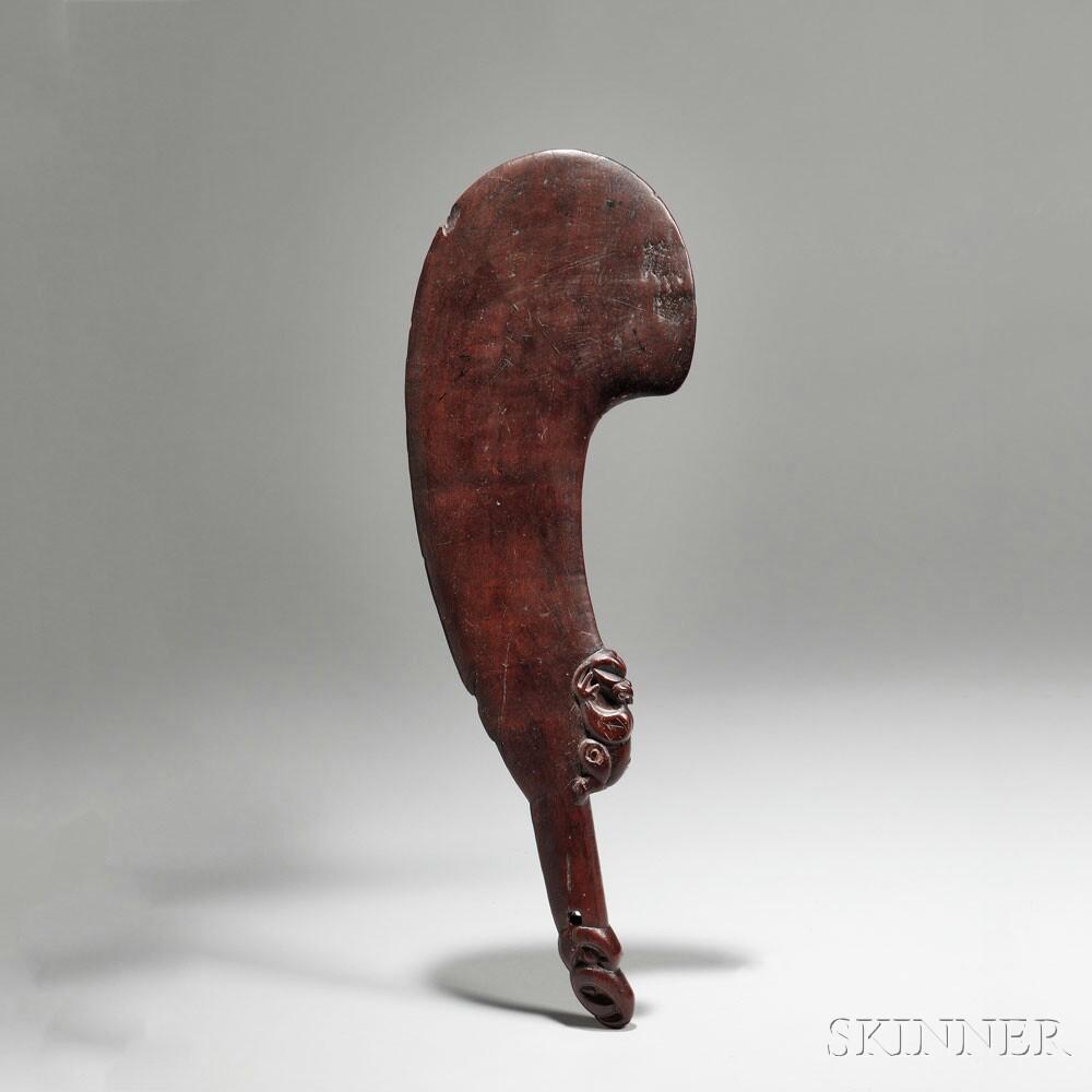 Maori Figural Carved Wood Hand Club