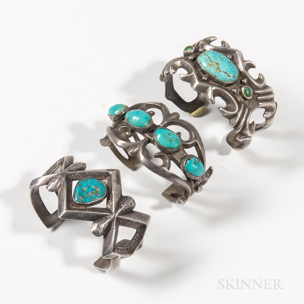 Three Navajo Silver Sand-cast Bracelets