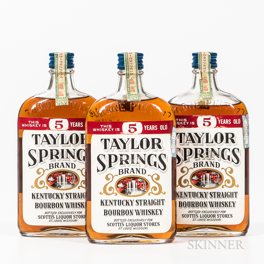 Taylor Springs 5 Years Old 1935, 3 pint bottles Spirits cannot be shipped. Please see http://bit.ly/sk-spirits for more info.