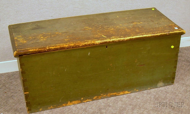 Green-painted Wooden Dovetail-constructed Blanket Box.