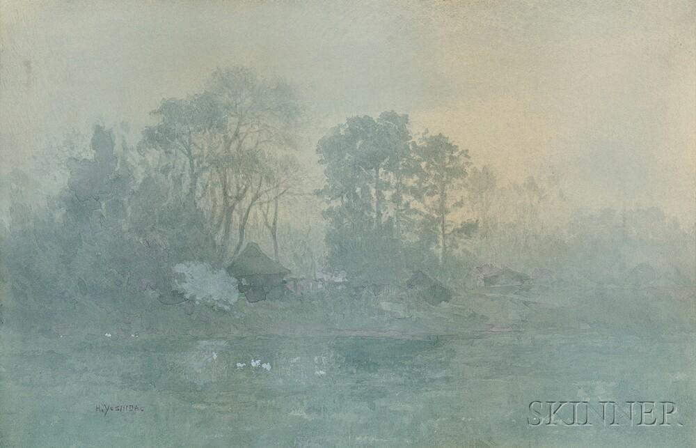 Hiroshi Yoshida (Japanese/American, 1876-1950)      Misty Morning, Japanese Shoreline