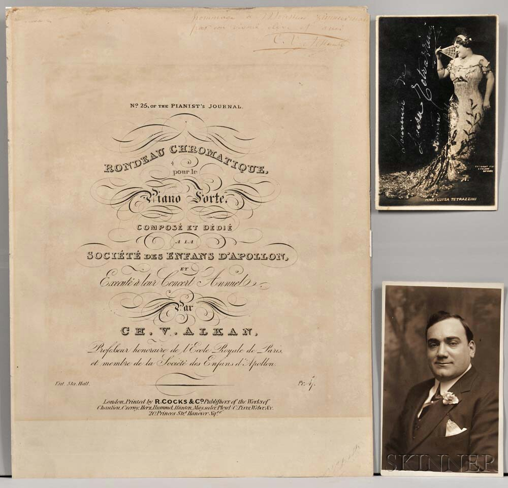 Musicians and Performers, Three Pieces Signed by Enrico Caruso (1873-1921), Luisa Tetrazzini (1871-1940) and Charles-Valentin Alkan (18