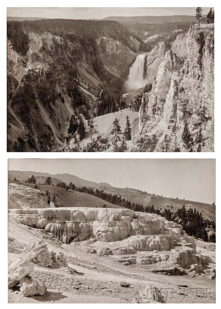 Attributed to Frank Jay Haynes (American, 1853-1921)      Twenty-nine Views of Yellowstone, including Old Faithful and Mammoth Springs