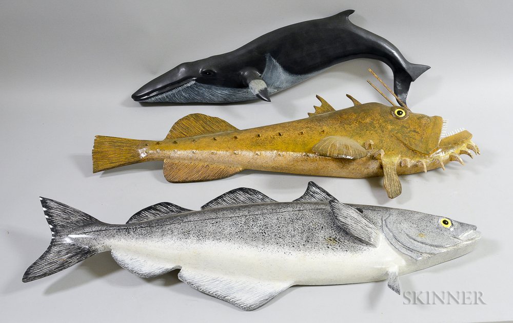 Three Carved and Painted Luthouse Marine Animal Plaques