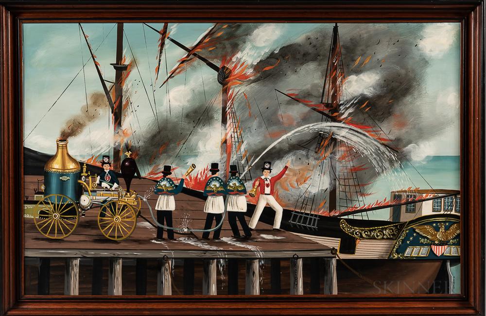 Ralph Cahoon (Massachusetts, 1910-1982)      Ship Ablaze