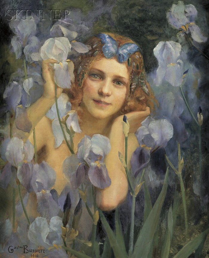 Gaston Bussière (French, 1862-1929)      Wood Nymph Among Irises