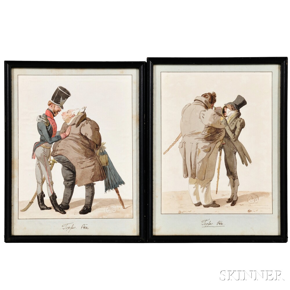Adam Töpffer (Swiss, 1766-1847)      Two Caricature Sketches