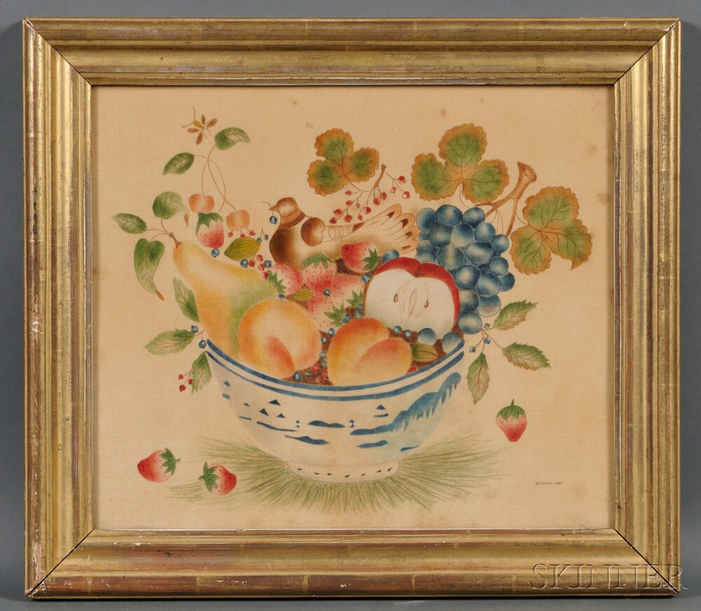 American School, Early 20th Century      Theorem of a China Trade Porcelain Bowl with Fruit and a Bird.