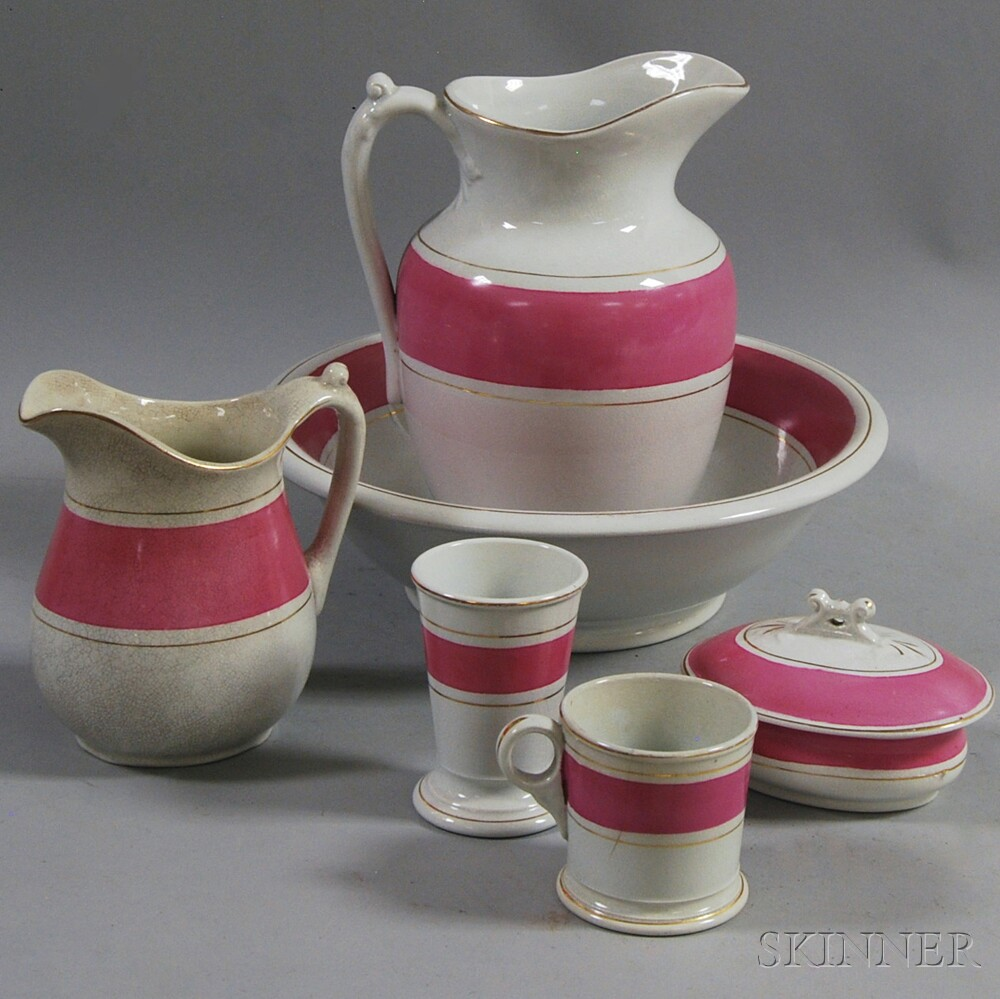 Six-piece Burgess & Campell Pink-banded White Ironstone Washroom Set