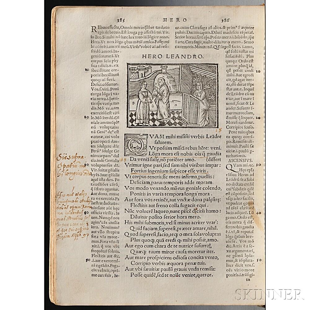 Ovid (43 BC-AD 17/18) Heroides cum Interpretibus Hubertino Crescent et Iano Parrhasio.