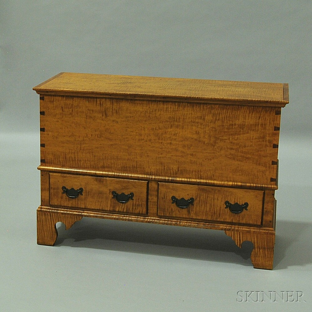 Chippendale-style Tiger Maple Two-drawer Blanket Chest
