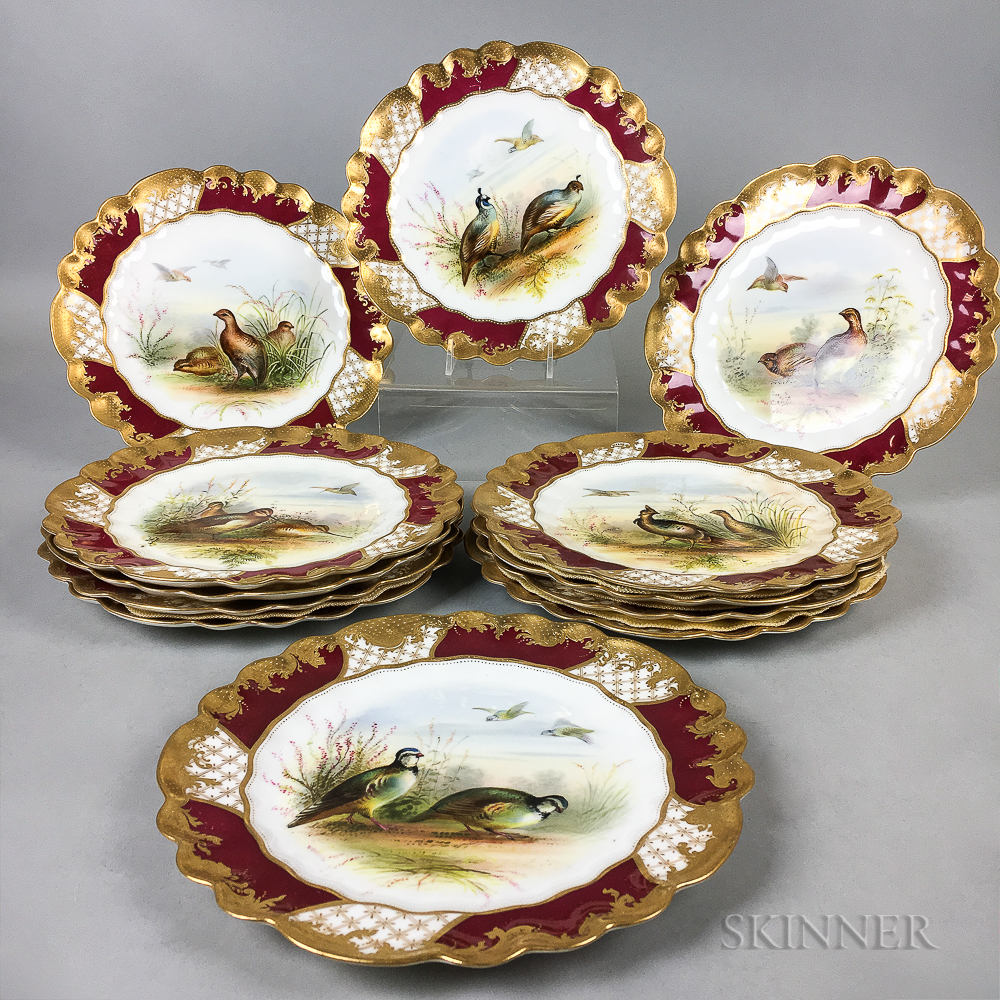 Set of Twelve George Jones & Sons for Tiffany & Co. Hand-painted Porcelain Bird Plates