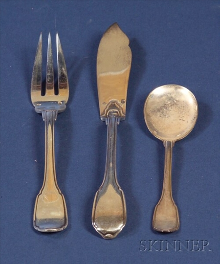 French Silver Bouillabaisse Flatware Set for Twelve