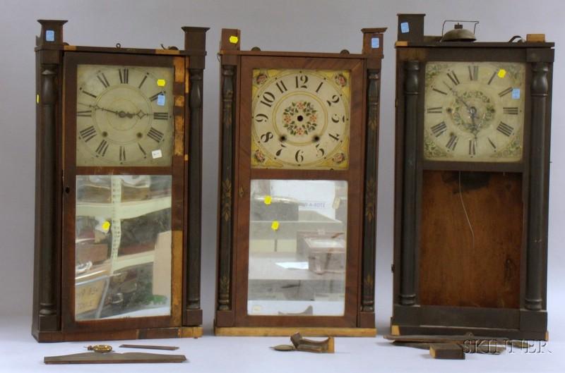 Three Mahogany Shelf Clocks and Components
