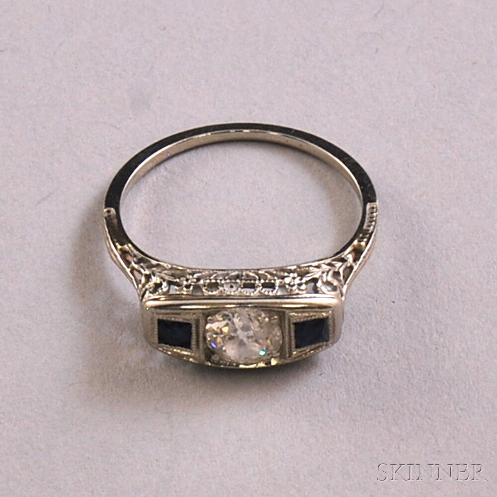 14kt White Gold, Diamond, and Sapphire Ring