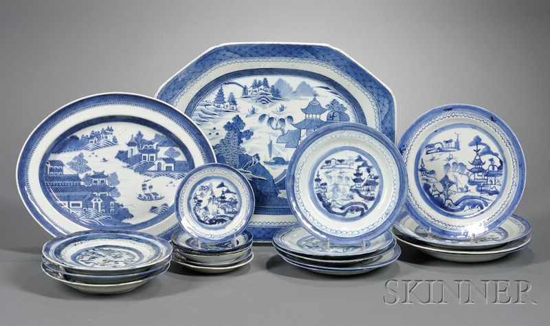 Two Canton Porcelain Platters and an Assembled Group of Nineteen Canton Plates