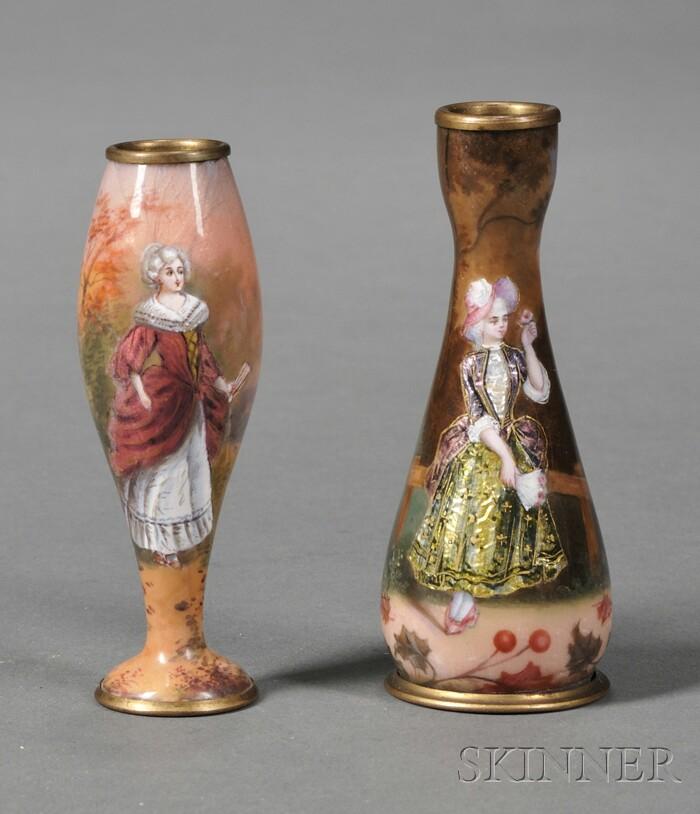 Two French Enamel Bud Vases